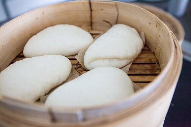 chinese steamed buns in steamer