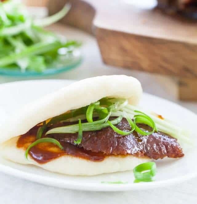 chinese steamed buns with duck filling
