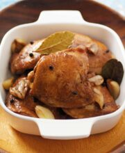 Chicken adobo in a baking dish