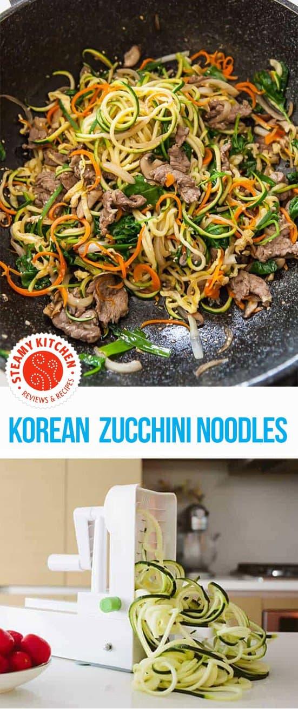 Korean Zucchini Noodles recipe - Korean Japchae noodles with spiraled zucchini!