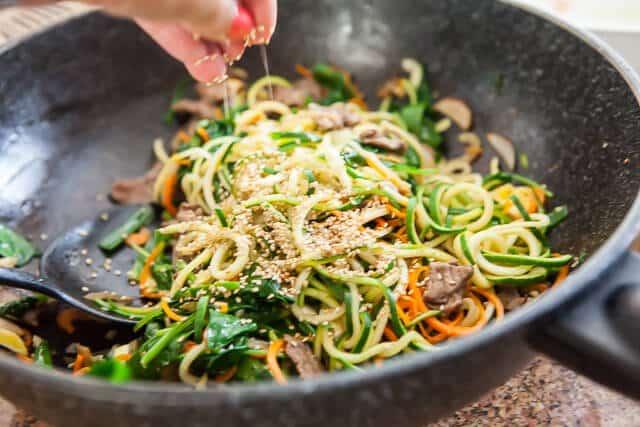 Korean Zucchini Noodle recipe - add sesame seeds