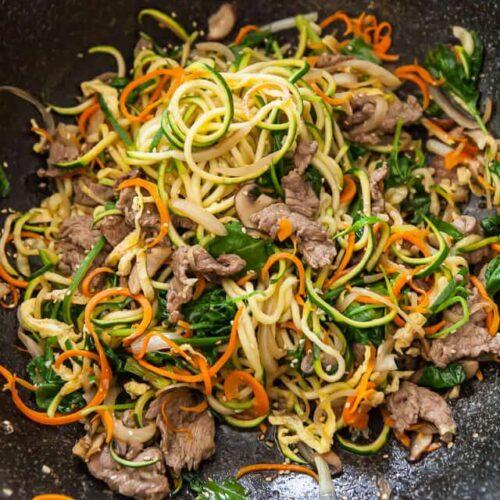 noodles in pan