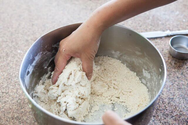 working the wrapper dough