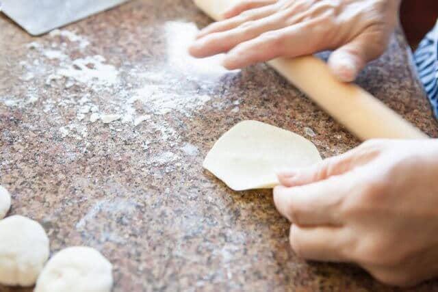flattened dough for potsticker dumplings