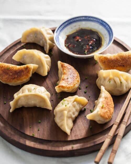 dumplings on platter