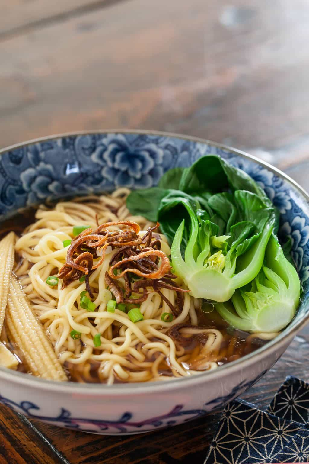 Noodle Soup with Baby Bok Choy & Crispy Shallots