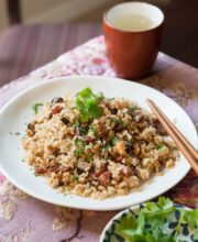 chinese sausage brown rice pressure cooker recipe-5987