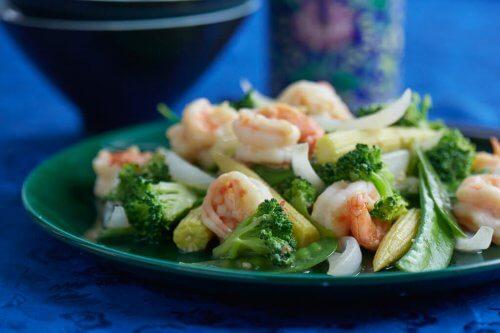 shrimp on green plate