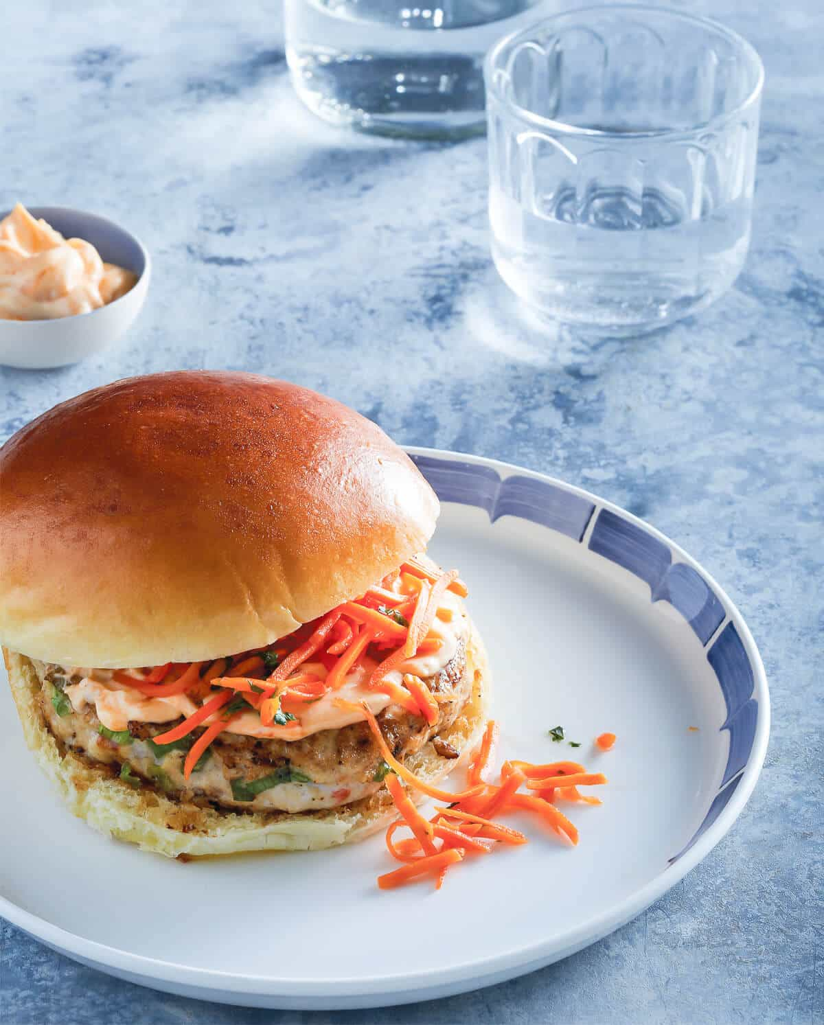 Thai Chicken Burgers with Quick Pickled Carrots