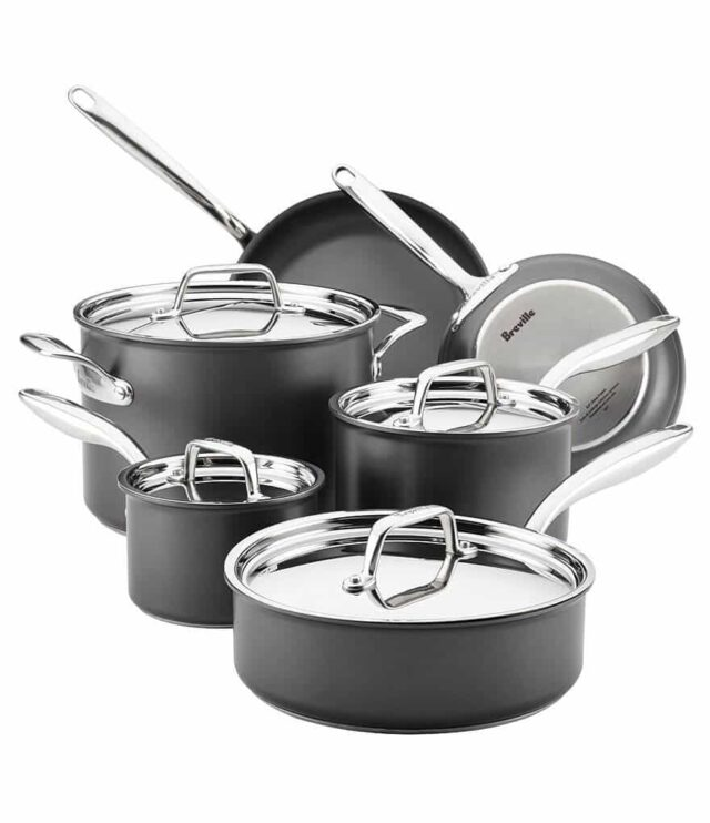 Breville Thermal Pro Hard-Anodized Nonstick 3-Quart Covered Saucepan Gray