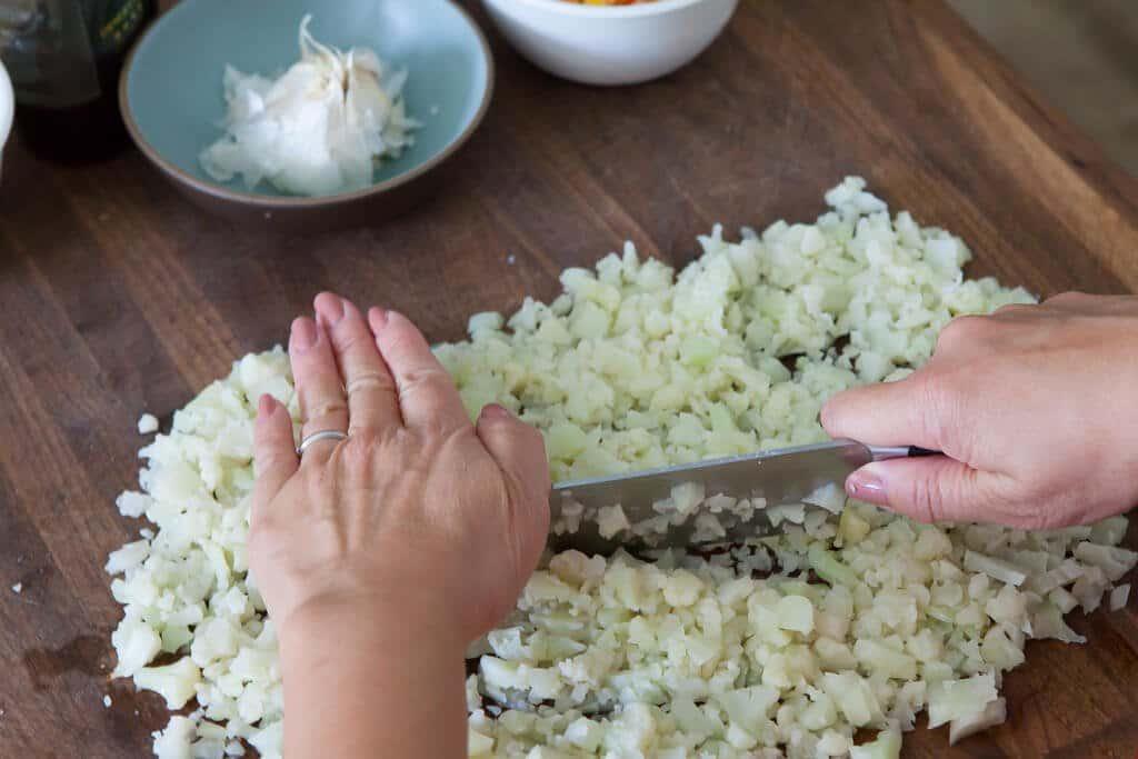 cauliflower rice chopping