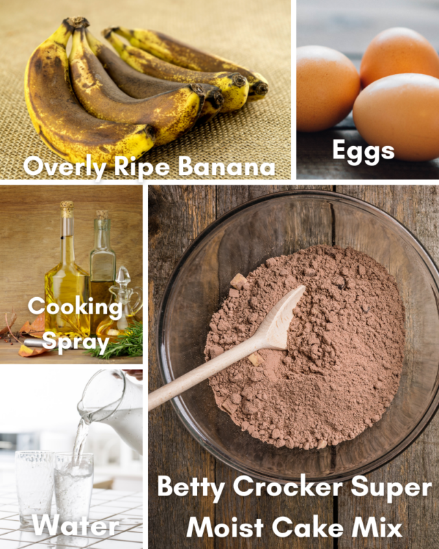 ingredients for microwave chocolate mug cake.