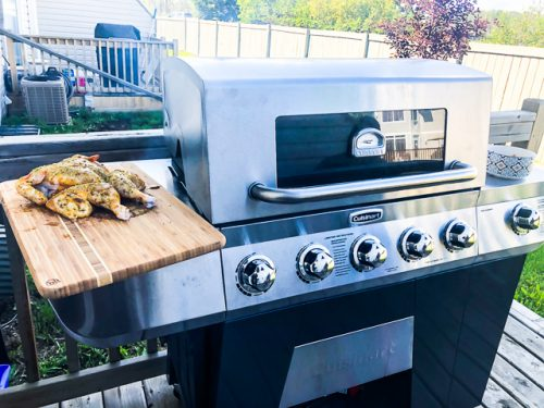 Cuisinart 3-in-1 Stainless Gas Grill Review smoking chicken