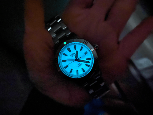 Bia Watch glows in dark