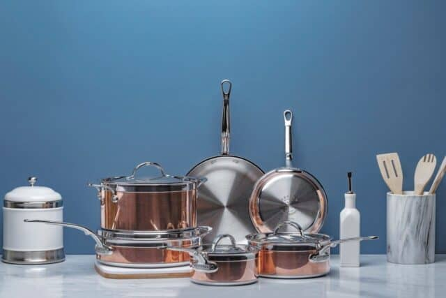Full set of Hestan CopperBond cookware, 10 piece set