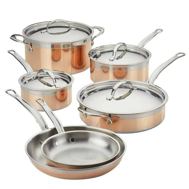 Hestan copperbond set -1 stockpot, 2 saucepans, 2 skillets and saute pan