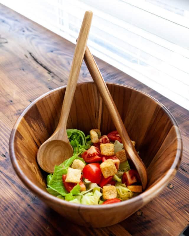 hand wash your anolon teak salad serving set