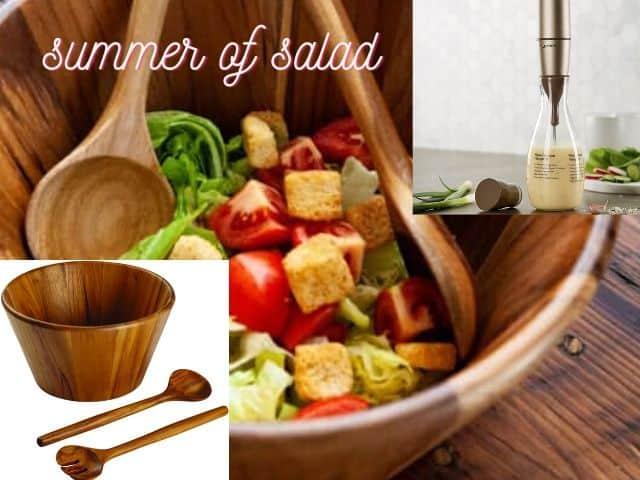 Anolon teak salad serving set and Bonjour salad maker review