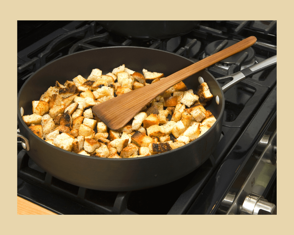 cooking croutons on the stovetop