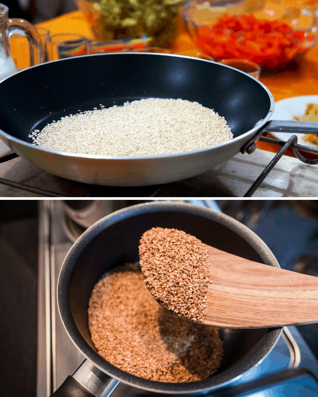 toasting sesame seeds for dressing