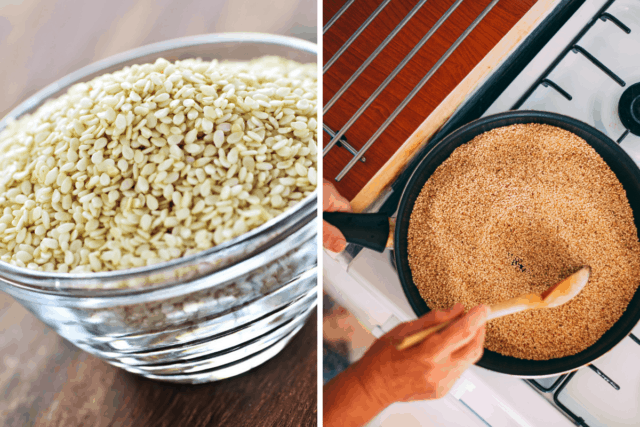 raw to toasted sesame seeds