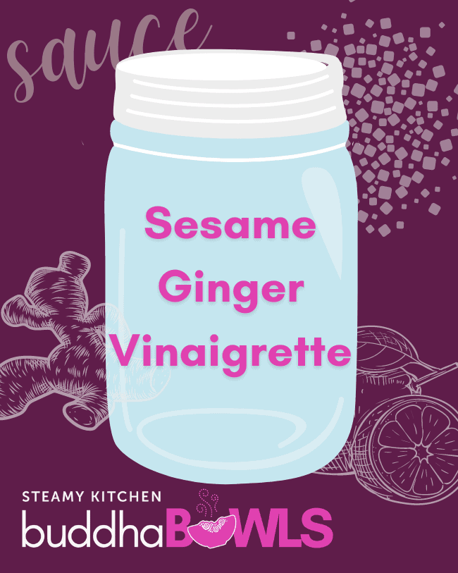 sesame ginger vinaigrette recipe title card