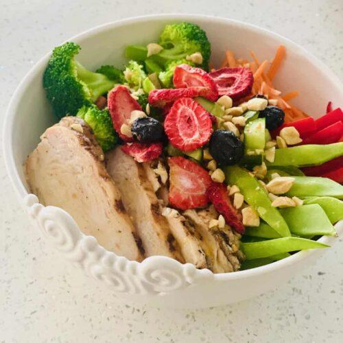 Grilled Chicken Buddha Bowl Recipe closeup