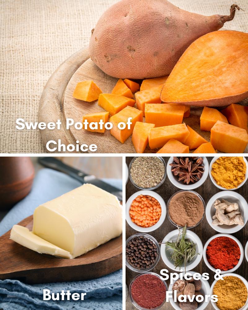 ingredients for microwaved sweet potatoes.