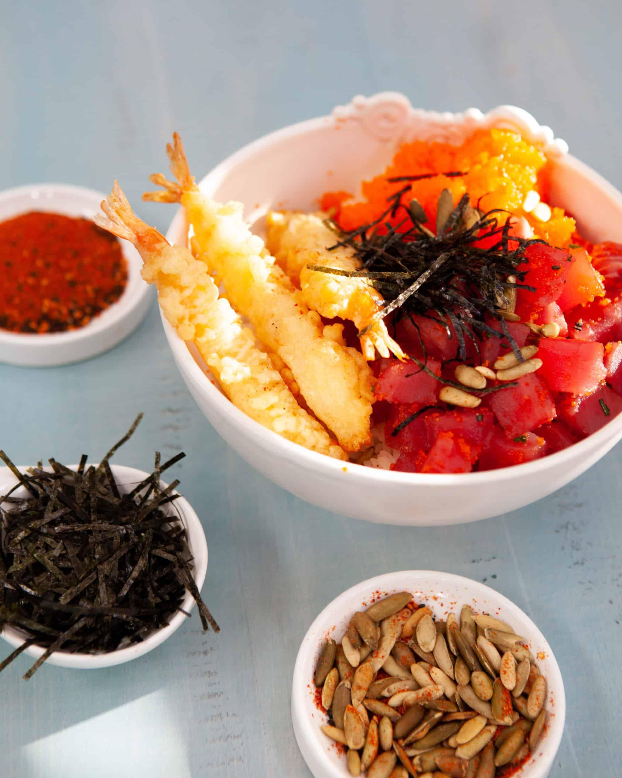 Japanese shichimi togarashi roasted pumpkin seeds with poke bowl