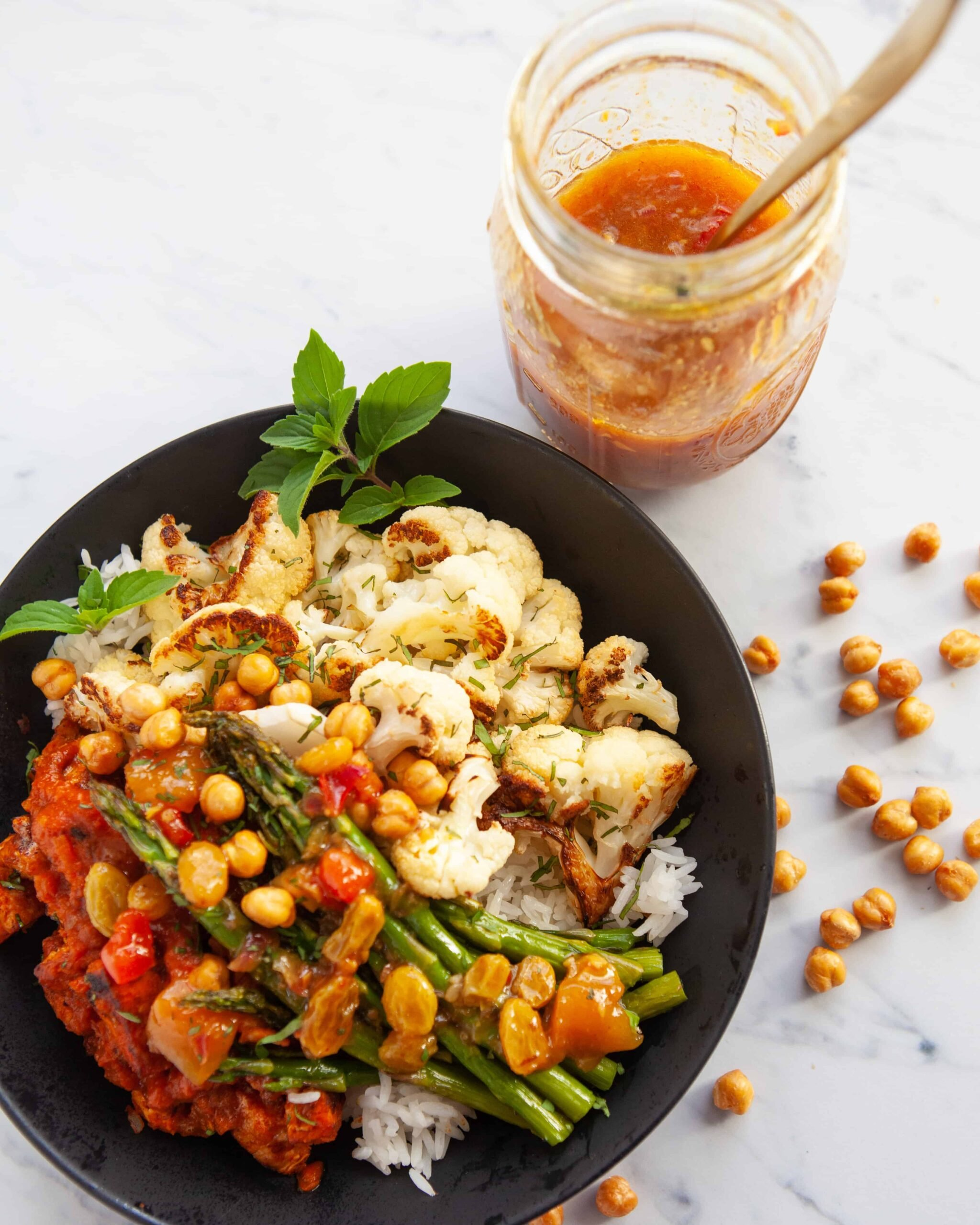 Masala Turkey Buddha Bowl with 10-Minute Mango & Golden Raisin Chutney