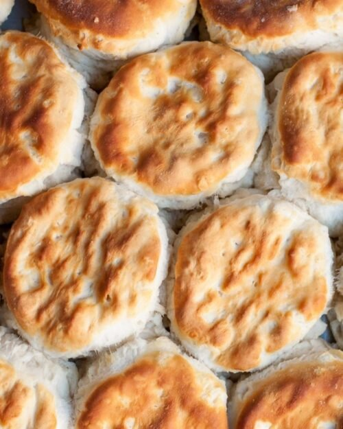 up close shot of buttermilk biscuits.