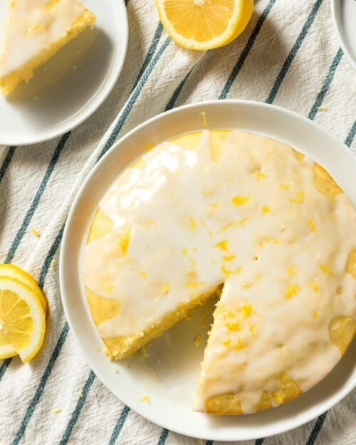 buttermilk lemon pound cake on a white plate.