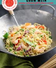 shrimp chow mein pinterest image.