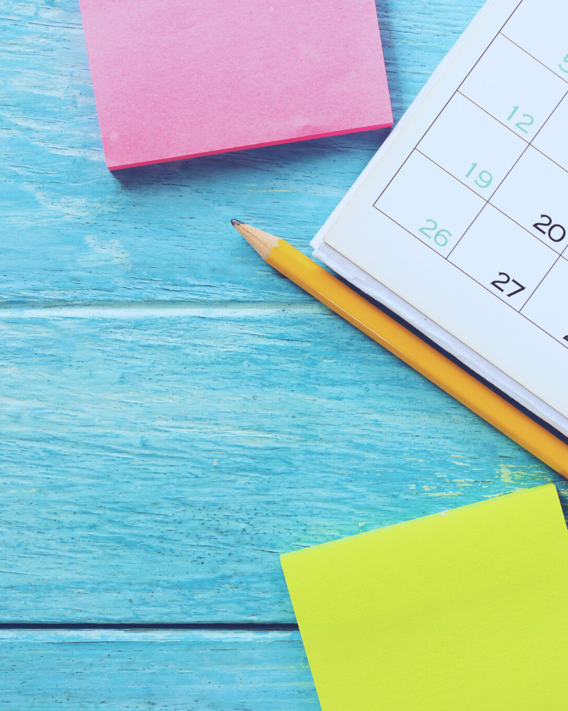 planning calendar and sticky notes