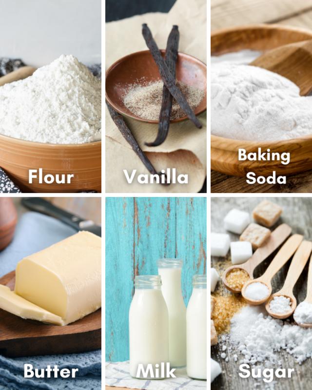 Ingredients for microwave vanilla mug cake.