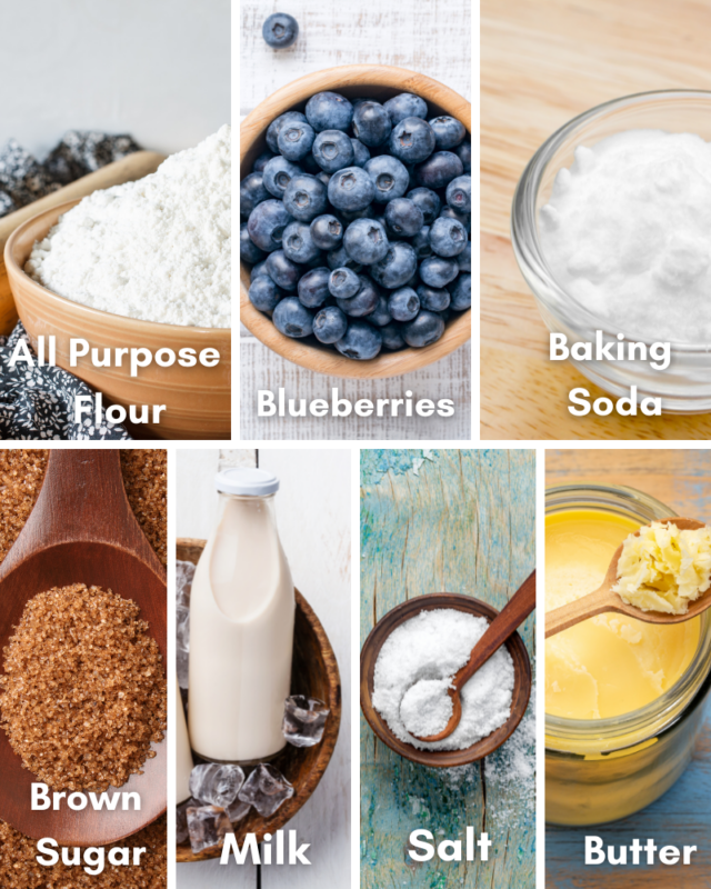 ingredients for blueberry muffin in a mug.