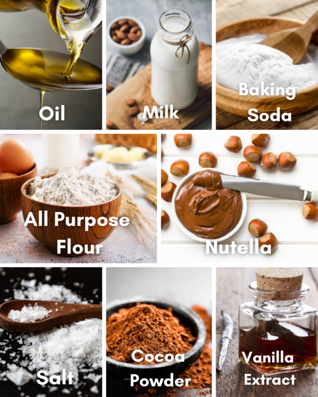 Ingredients for Nutella Cake.
