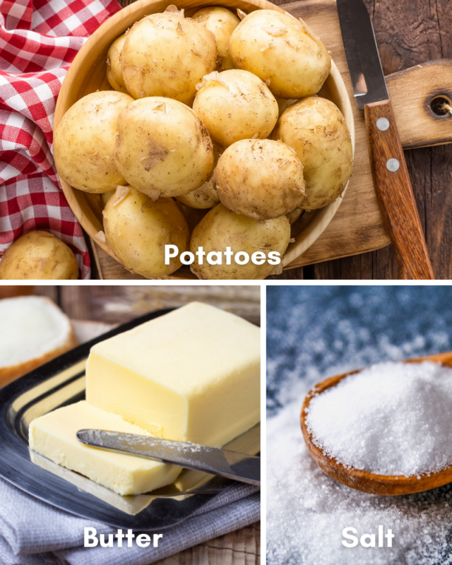 Ingredients for baked potato.