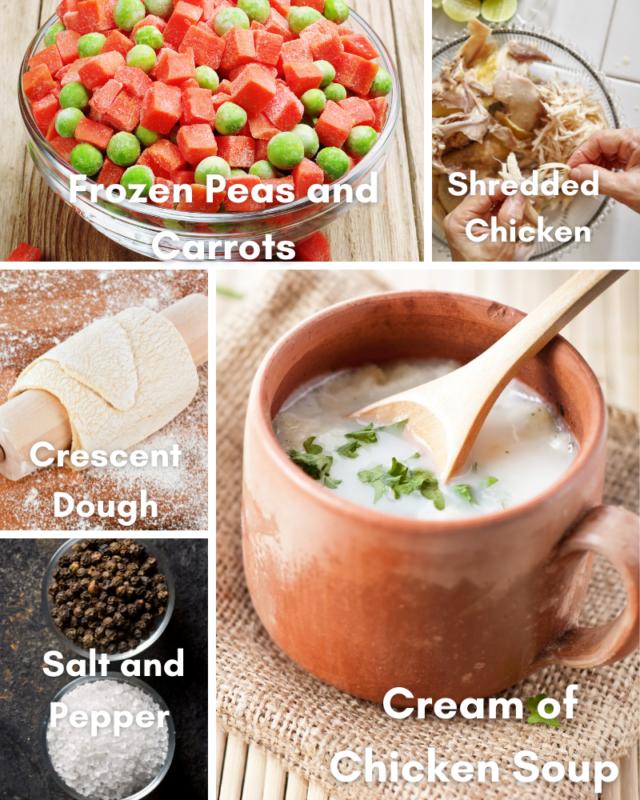 Ingredients for chicken pot pie.