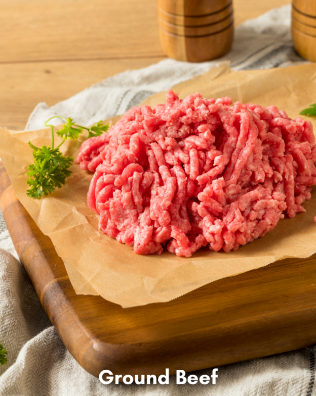 Ingredients for ground beef in the microwave.