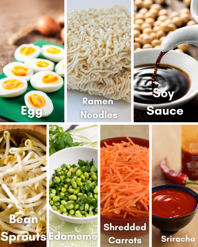 Ingredients for ramen recipe.