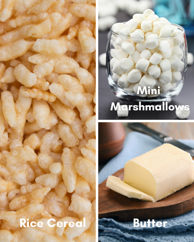 Ingredients for rice krispie treats.