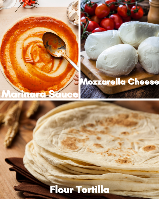 Ingredients for tortilla pizza.