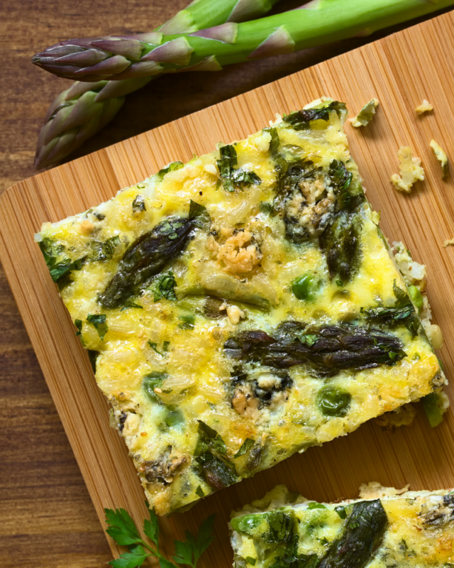 one piece of asparagus frittata.