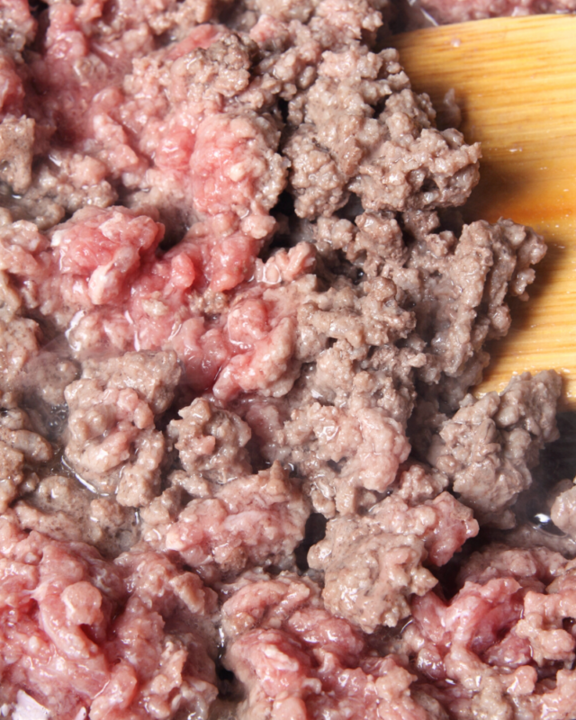 partially cooked ground beef.