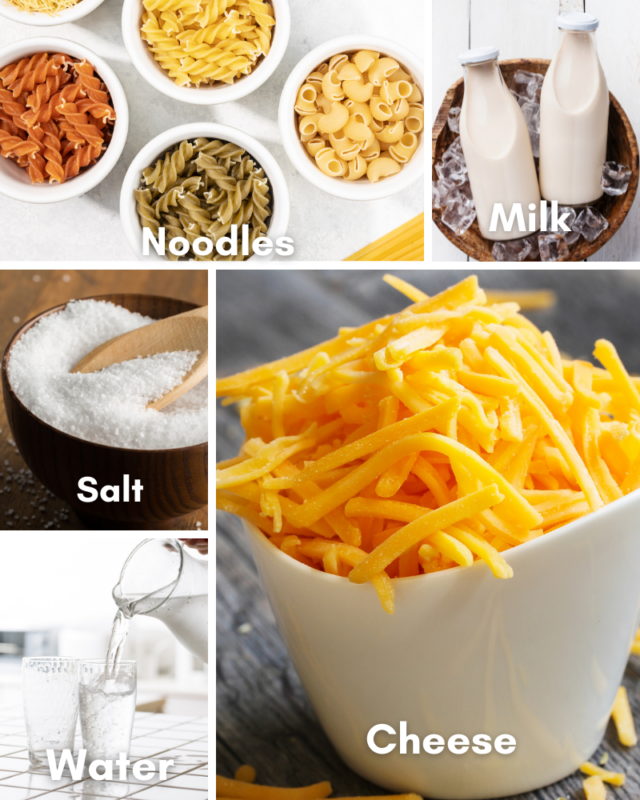 ingredients for microwave mac and cheese.