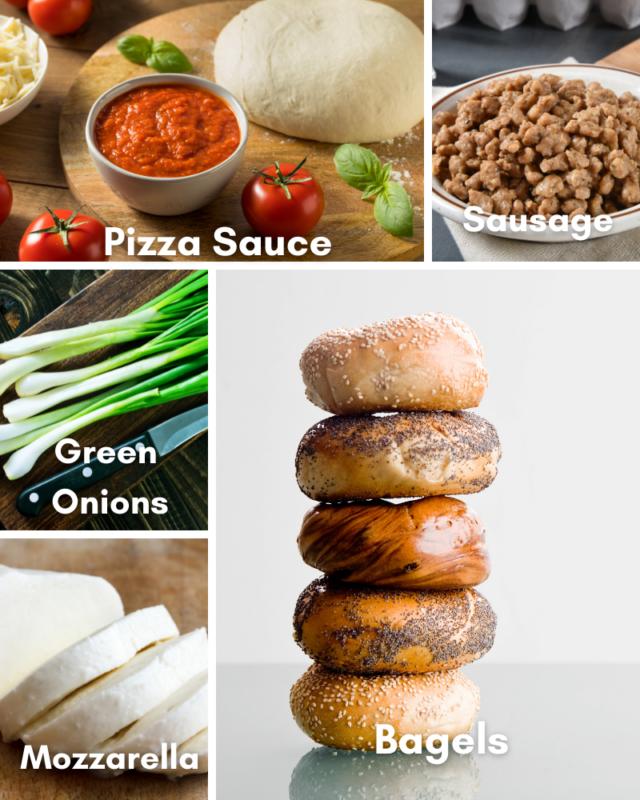 ingredients for pizza bagel bites.
