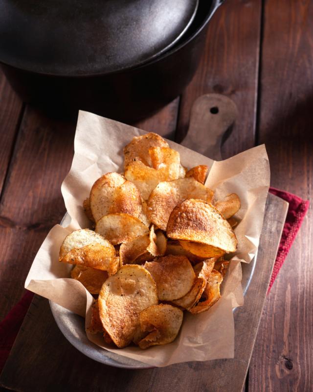 potato chips on parchment paper.