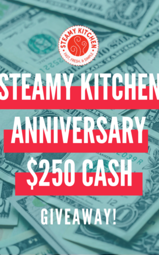 Steamy Kitchen Anniversary $250 CASH GiveawayEnds in 3 days.