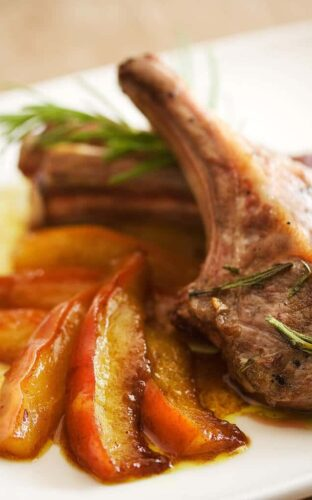 Lamb Chops with Curried Pears